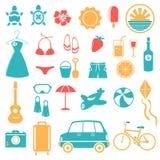 Estate, festa, spiaggia, insieme dell'icona di viaggio Fotografie Stock