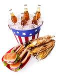 Estate: Grandangolare dell'alimento patriottico di festa Fotografia Stock