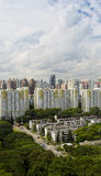 Estate. A high angle view of a low rise old residental estate with city as background Royalty Free Stock Photography