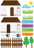 Estate House Home Outside Elements_eps. Illustration of house open door and closed, key, fence, tree, grasses, cloud, sun, board elements Stock Images