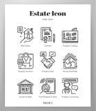 Estate icons Line pack vector illustration