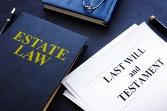 Estate law, last will and testament in a court. stock photos