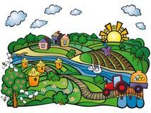 Estate nel villaggio Ape-giardino Immagini Stock