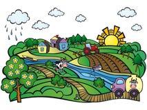 Estate nel villaggio Azienda agricola Immagine Stock Libera da Diritti