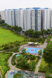 Estate. A new colorful neighborhood estate with tennis court and playground Stock Images