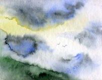 Estate pacifica del paesaggio - il cielo e le montagne - illustrazione dell'acquerello Immagine Stock