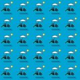 Estate patern, famiglia sotto un ombrello sulla spiaggia illustrazione di stock