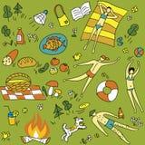 Estate-picnic-senza giunte-reticolo illustrazione vettoriale