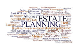 Estate Planning. A cloud of words of the terms related to estate planning, in white background Stock Photos