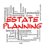 Estate Planning Word Cloud Concept in Red Caps Royalty Free Stock Photos