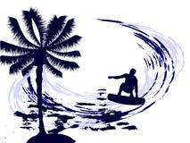 Estate - praticando il surfing Fotografia Stock Libera da Diritti