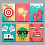 Estate, progettazione della disposizione, cartolina d'auguri, libro della copertura, insegna Immagine Stock Libera da Diritti