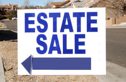Estate Sale Sign. In the Front Yard Royalty Free Stock Photo