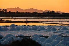 Estate salina Sicilia di marsala di tramonto immagini stock
