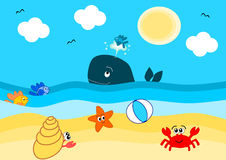 Estate sull'illustrazione del fumetto della spiaggia Fotografia Stock Libera da Diritti