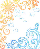 Estate Sun e Doodles imprecisi del taccuino delle onde Fotografie Stock Libere da Diritti