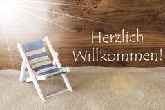 Estate Sunny Greeting Card, benvenuto di mezzi di Willkommen Fotografie Stock Libere da Diritti