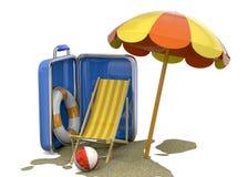 Estate in una valigia - 3D Fotografia Stock