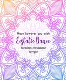 Estatic Dance. Yoga card design. Colorful template for spiritual. Retreat or yoga studio. Ornamental business cards, oriental pattern. Vector illustration stock illustration