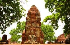 Estatua antigua de Buda en el templo de Mahathat, sitio histórico en la provincia de Ayuttaya, Tailandia Foto de archivo