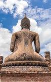Estatua antigua de Budddha en Sukhothai de la parte posterior Foto de archivo libre de regalías