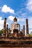 Estatua antigua de Budddha en Sukhothai de la parte posterior Fotos de archivo libres de regalías