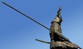 Estatua antigua del guerrero del samurai Fotos de archivo