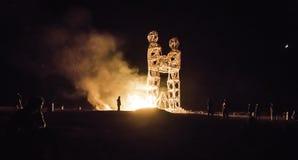 Estatua ardiente del hombre Foto de archivo libre de regalías