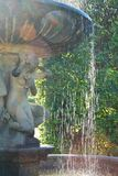 Estatua barroca de la muchacha con agua de la fuente que cae abajo Fotografía de archivo