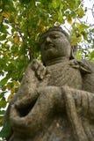 Estatua Buda del ángulo bajo además de la planta Imágenes de archivo libres de regalías