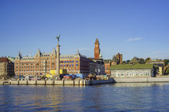 Estatua cerca del puerto de Helsingborg Imagenes de archivo