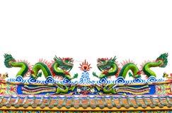 Estatua china del dragón en blanco aislada Imágenes de archivo libres de regalías