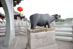 Estatua china del rinoceronte del guangji Fotografía de archivo