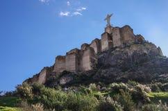 Estatua Cristo Castillo de Monteagudo, castillo medieval, Murcia, S Fotos de archivo
