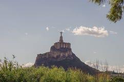 Estatua Cristo Castillo de Monteagudo, castillo medieval, Murcia, S Imagen de archivo libre de regalías