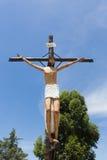 Estatua crucificada cerca de Cachi, la Argentina septentrional de Cristo Fotografía de archivo