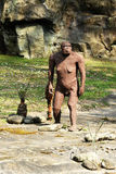 Estatua de Afarensis del australopiteco en Rocky Ground Fotos de archivo