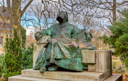 Estatua de anónimo, castillo de Vajdahunyad, Budapest Fotografía de archivo