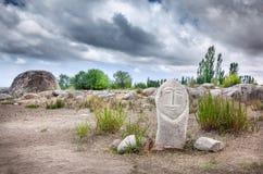 Estatua de Balbal en Kirguistán Imagen de archivo libre de regalías