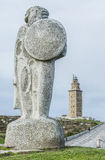 Estatua de Breogan en un Coruna, Galicia, España. Imagen de archivo libre de regalías