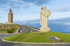 Estatua de Breogan en un Coruna, Galicia, España. Foto de archivo