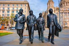 Estatua de bronce del Beatles en Merseyside en Liverpool, Reino Unido fotos de archivo libres de regalías