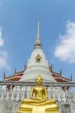 Estatua de Buda del oro que se sienta con el fondo de la pagoda Fotografía de archivo libre de regalías