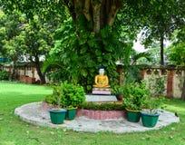 Estatua de Buda en el jardín del templo en Agra, la India Foto de archivo