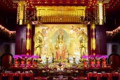 Estatua de Buda Maitreya en el templo de la reliquia del diente de Buda, Singapur foto de archivo libre de regalías
