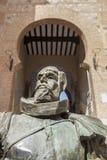 Estatua de Cervantes del escritor, Toledo, España Fotos de archivo libres de regalías
