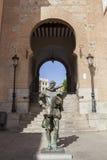 Estatua de Cervantes del escritor, Toledo, España Fotos de archivo