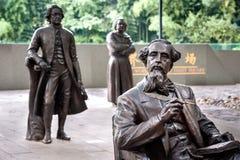 Estatua de Charles Dickens en el cuadrado gigante literario del mundo, Lu Xun Park, Shangai fotografía de archivo