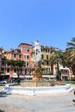 Estatua de Christopher Columbus en el della Liberta, Santa Margherita Ligure de la plaza Fotos de archivo libres de regalías