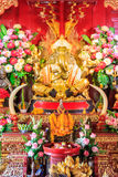 Estatua de cobre amarillo de Ganesha, templo del PA Daet en Chiangmai Tailandia Foto de archivo